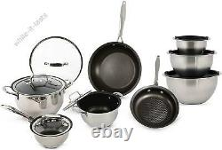 Wolfgang Puck 15-Piece Stainless Steel Cookware Set With Mixing Bowls Scratch-R