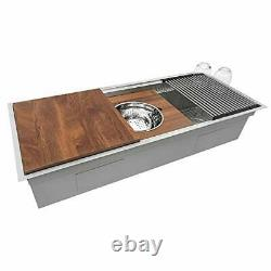 Wood Platform with Mixing Bowl and Colander for Workstation Sinks