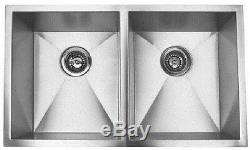 Zero radius stainless steel double bowl undermount kitchen sink