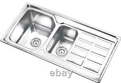 1.5 Évier De Cuisine Double Bol Bassin À Double Évier Résistant À La Corrosion En Acier Inoxydable