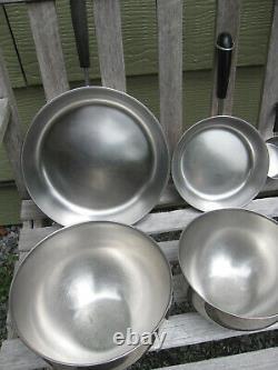 12pc Vtg Rome Ny Revere Ware Lot Cuivre Clad Fry Pans Saucepans 3 Mixing Bowls