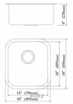 16x18x9 T304 Acier Inoxydable Undermount Single Bowl Kitchen Bar Sink