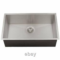 27 Undermount Stainless Steel Square Corners Kitchen Sink Single Bowl