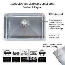 28 X 18 X 9 Deep Stainless Steel Single Bowl 18 Gauge Undermount Kitchen Sink