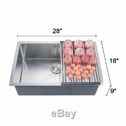 28 X 18 X 9 Jauge De Cuisine En Acier Inoxydable Évier Encastré Avec Cuve Simple Grille