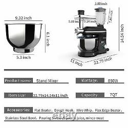 3 En 1 Mélangeur De Stand Tilt-head Avec 7qt 850w Bowl 6 Speeds Meat Grinder Blender Noir