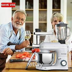 3 En 1 Stand Mixer Meat Grinder Juice Extracteur Silver Tilt-head Avec Bol 7qt