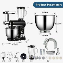 3 En 1 Tilt-head Stand Mixer With7qt Bowl 6 Speeds 850w Meat Grinder Blender Noir