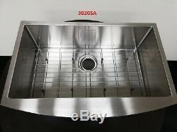 30 Sink Ferme Cuisine En Acier Inoxydable Courbé Avant Cuve Simple