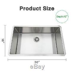 30x18 ' ' Évier De Cuisine En Acier Inoxydable De Calibre 16 À L'unité Bowl Undermount 10 ' ' Deep