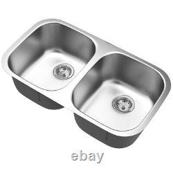 32-1/2 Sous-mont 50/50 Évier De Cuisine Double Bowl Acier Inoxydable Avec Accessoires