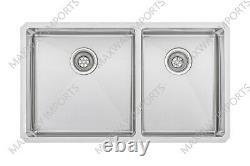 32 3/4x19 Double Bowl 60/ 40 Acier Inoxydable T-304 Undermount Kitchen Sink R15