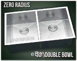 32 Double Bowl Undermount 16 Gauge 304 Cuisine En Acier Inoxydable Évier Rayon Zéro