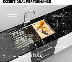 32 Pouces Undermount Workstation Kitchen Sink 16 Gauge Single Bowl En Acier Inoxydable