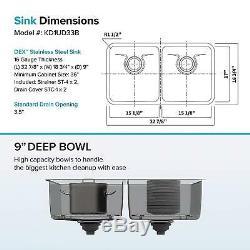 33 Kitchen Sink 16 Ga En Acier Inoxydable 50/50 Encastrée Equal Double Bowl Moderne