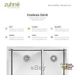 33 Kitchen Sink Ferme Tablier 60-40 Profonde Double Bol En Acier Inoxydable De Calibre 16