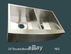 33 Tablier Ferme En Acier Inoxydable Évier De Cuisine 16 G Main Double Bowl 50/50
