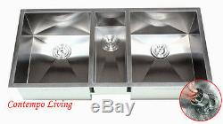 42 Zéro En Acier Inoxydable Rayon Triple Bowl Undermount Kitchen Sink