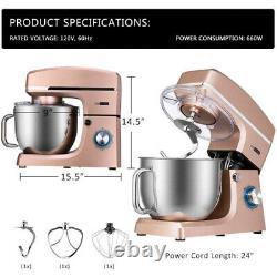 6.7qt Tilt-head Food Stand Mixer 800w 6 Speed Stainless Steel Bowl Kitchenbeater