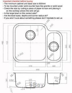 600 X 480mm Satin Undermount 1,5 Bowl Cuisine En Acier Inoxydable Évier (d12l)