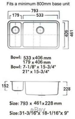 793 X 461mm Brossé Undermount 1,5 Bowl De Cuisine En Acier Inoxydable Évier (d02r)