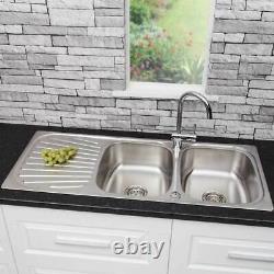 Acier Inoxydable 2 Bol Double Kitchen Sink Reversible Drainer Inset + Déchets Gratuits