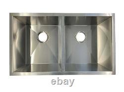 Acier Inoxydable Double Bol 16 Gauge Sous Monture Évier De Cuisine 32 X 19 X 10