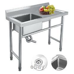 Acier Inoxydable Mount Standing Kitchen Sink Single Bowl Restauration Commerciale