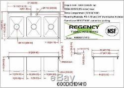 Avec Robinet 37 Trois Compartiments Évier 10 X 14 Inoxydable Bol Goutte D'acier En 3