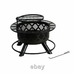 Bali Outdoors 32in Wood Burning Patio Round Fire Pit Backyard Grill Set Nouveau
