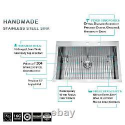 Billion 33x22 Inch Single Bowl Undermount 16 Gauge Stainless Steel Kitchen Sink