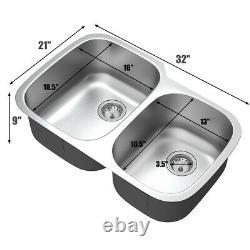Costway 32 Undermount 60/40 Évier De Cuisine Double Bowl Inoxydable Avec Accessoires