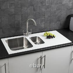 Draineur Surround En Acier Inoxydable Moderne 1.5 Bowl Kitchen Sink White 8mm Glass Surround