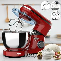 Electric Food 6 Speed 6.5qt 660w Tilt-head Stainless Steel Stand Mixer Bowl Rouge