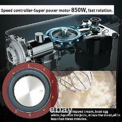 Électrique Alimentaire Batteur Sur Socle 6 Vitesses 6qt 850w Tête Inclinable En Acier Inoxydable Bol Rouge