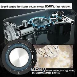 Électrique Alimentaire Batteur Sur Socle 6 Vitesses 7qt 660w Tête Inclinable En Acier Inoxydable Bowl Noir