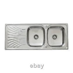 Enki Ks038 Acier Inoxydable Twin Double Bowl Inset Kitchen Sink Drainboard
