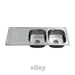 Enki Ks038 En Acier Inoxydable Twin Double Bowl Kitchen Sink Encart Drainboard