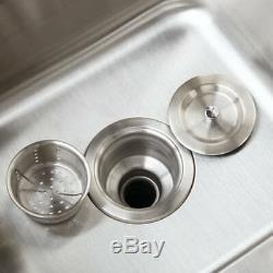 Évier De Cuisine En Acier Inoxydable Undermount 2 Set Navire Bowl + Cuisine Mélangeur Robinet