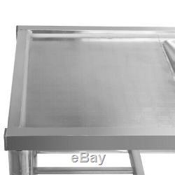 Évier Double En Acier Inoxydable Commercial Bowl Cuisine Traiteur Préparation Table 2 Bols