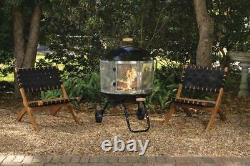Extérieur 28 Mobile Portable Round Steel Wood Fire Pit With Convenient Wheels Nouveau