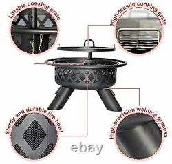 Galilo Fire Pit Wood Round Fire Bowl 38 Heater Ourdoor Withcover Réglable Grill
