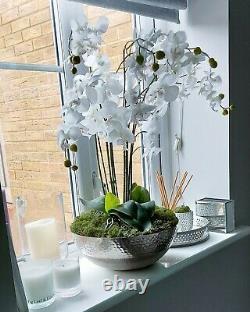 Grande Orchidée Blanche De Faux Avec Le Décor De Mousse Dans Le Bol En Acier Inoxydable
