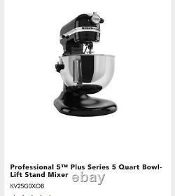 Kitchenaid Pro 5 Plus 5qt Bowl-lift Stand Mixer Kv25g0xb Flambant Neuf Scellé