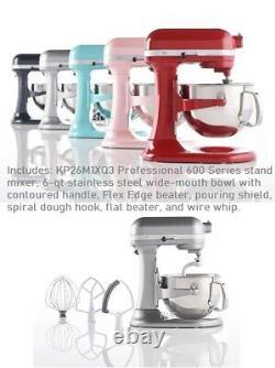 Kitchenaid Pro 600 6-qt Bol Lift Stand Mixer Avec Edge Flex Et Bouclier De Versage