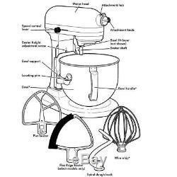 Kitchenaid Six Professionnels Pintes 6qt Bowl Lift Batteur Flex Bord Argent