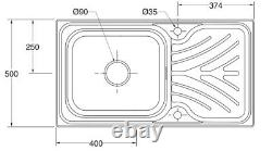 Kohler Ease Inset En Acier Inoxydable Kitchen Sink Single Bowl Déchets 950 X 500mm