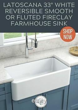 Latoscana Reversible 33 Single Bowl Fireclay Farmhouse White Farm Sink Italien