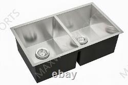 Main 32x19 Undermount Double Bowl 304 Stainless Steel Kitchen Sink Zero R0
