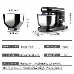 Mélangeur Électrique De Stand D'alimentation 6 Vitesses 6qt 660w Tilt-head Stainless Steel Bowl Noir